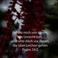 Befreie mich von denen, die Frevel tun, und rette mich von den Blutmenschen! ( Psalm 59:2 )