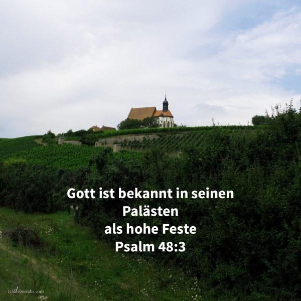 Schön ragt empor, eine Freude der ganzen Erde, der Berg Zion, die Stadt des großen Königs. Gott ist bekannt in ihren Palästen als hohe Feste ( Psalm 48,2-3 )