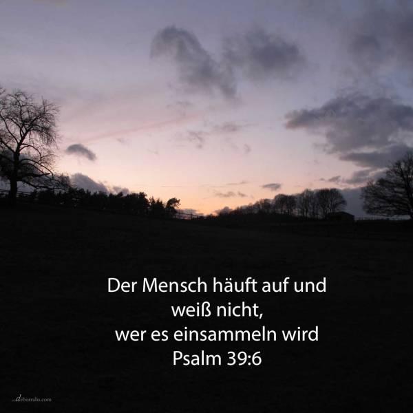 Ja, als ein Schattenbild wandelt der Mensch einher; ja, vergebens ist er voll Unruhe; er häuft auf und weiß nicht, wer es einsammeln wird ( Psalm 39,6 )