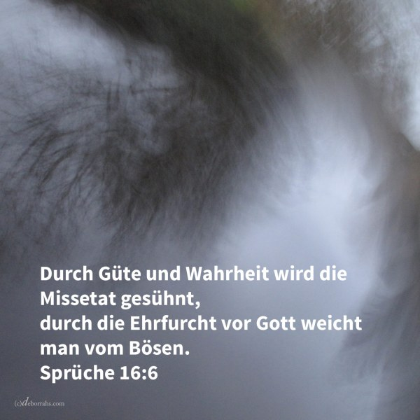 Durch Güte und Wahrheit wird die Missetat gesühnt, und durch die Furcht Jehovas weicht man vom Bösen ( Sprüche 16,6 )