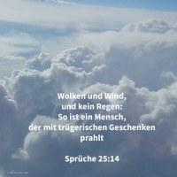 Wolken und Wind, und kein Regen: so ist ein Mann, welcher mit trügerischem Geschenke prahlt ( Sprüche 25,14 )