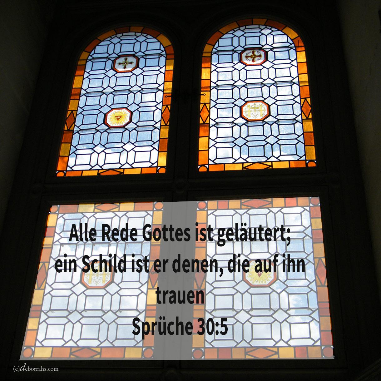 Alle Rede Gottes ist geläutert; ein Schild ist er denen, die auf ihn trauen ( Sprüche 30:5 )