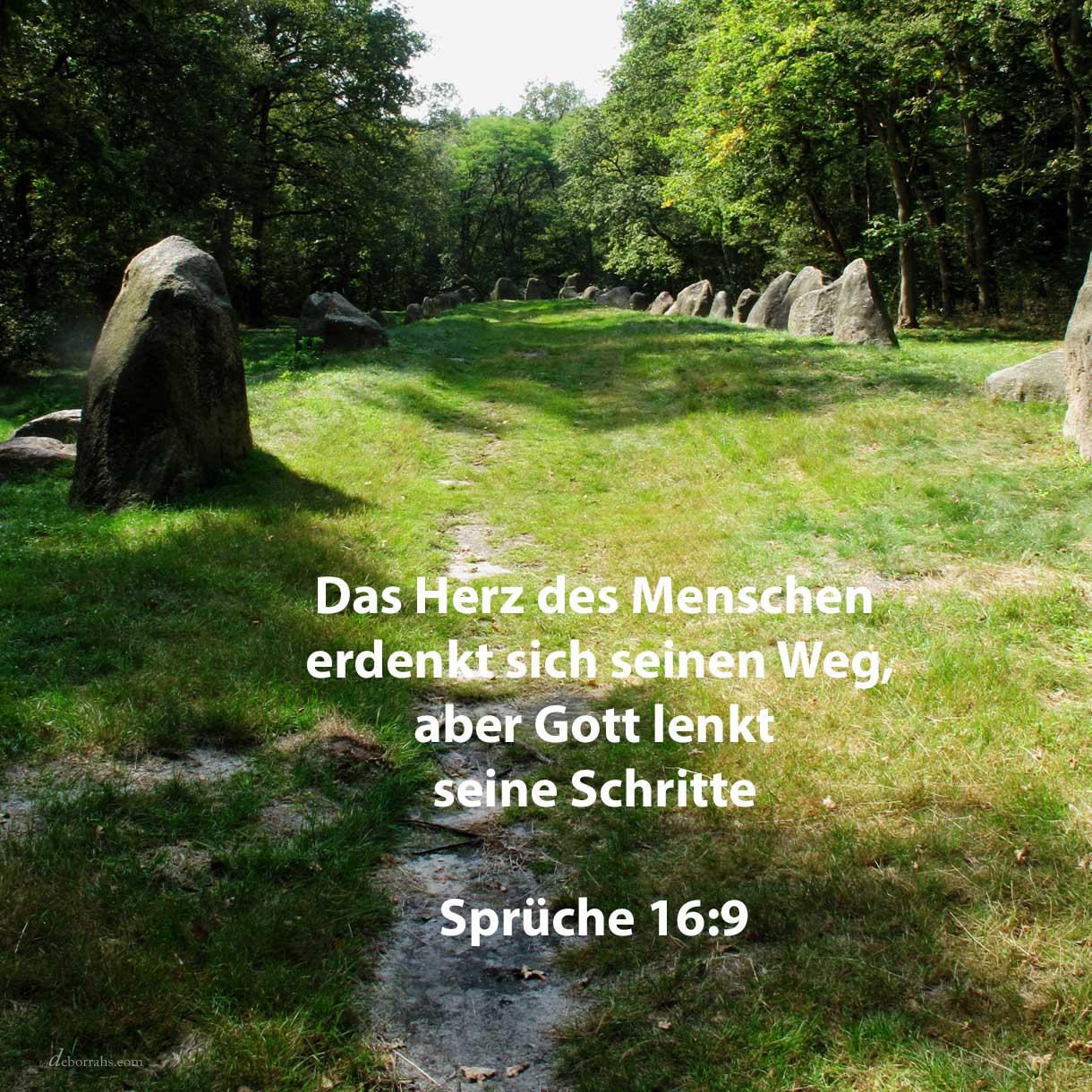 Das Herz des Menschen erdenkt sich seinen Weg, aber jehova lenkt seine Schritte ( Sprüche 16,9 )