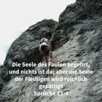 Die Seele des Faulen begehrt, und nichts ist da; aber die Seele der Fleißigen wird reichlich gesättigt ( Sprüche 13,4 )