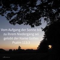 Vom Aufgang der Sonne bis zu ihrem Niedergang sei gelobt der Name Jehovas! (Ps 113,3 )