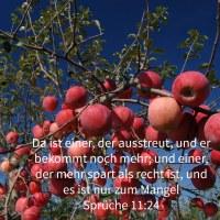 Da ist einer, der ausstreut, und er bekommt noch mehr; und einer, der mehr spart als recht ist, und es ist nur zum Mangel ( Sprüche 11,24)
