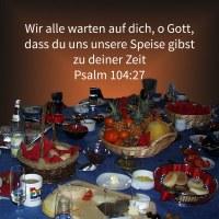 Sie alle warten auf dich, dass du ihnen ihre Speise gebest zu seiner Zeit ( Psalm 104,27 )