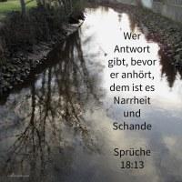 Wer Antwort gibt, bevor er anhört, dem ist es Narrheit und Schande ( Sprüche 18,13 )