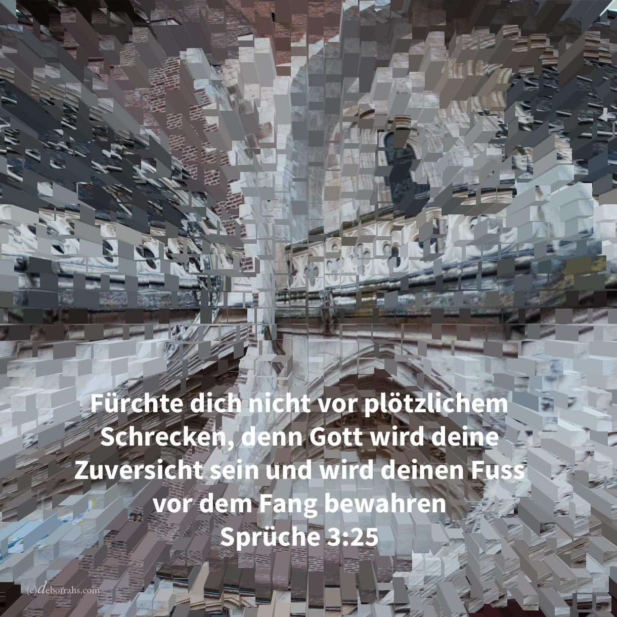 Fürchte dich nicht vor plötzlichem Schrecken, noch vor der Verwüstung der Gesetzlosen, wenn sie kommt; denn Jehova wird deine Zuversicht sein, und wird deinen Fuss vor dem Fange bewahren ( Sprüche 3:25 )