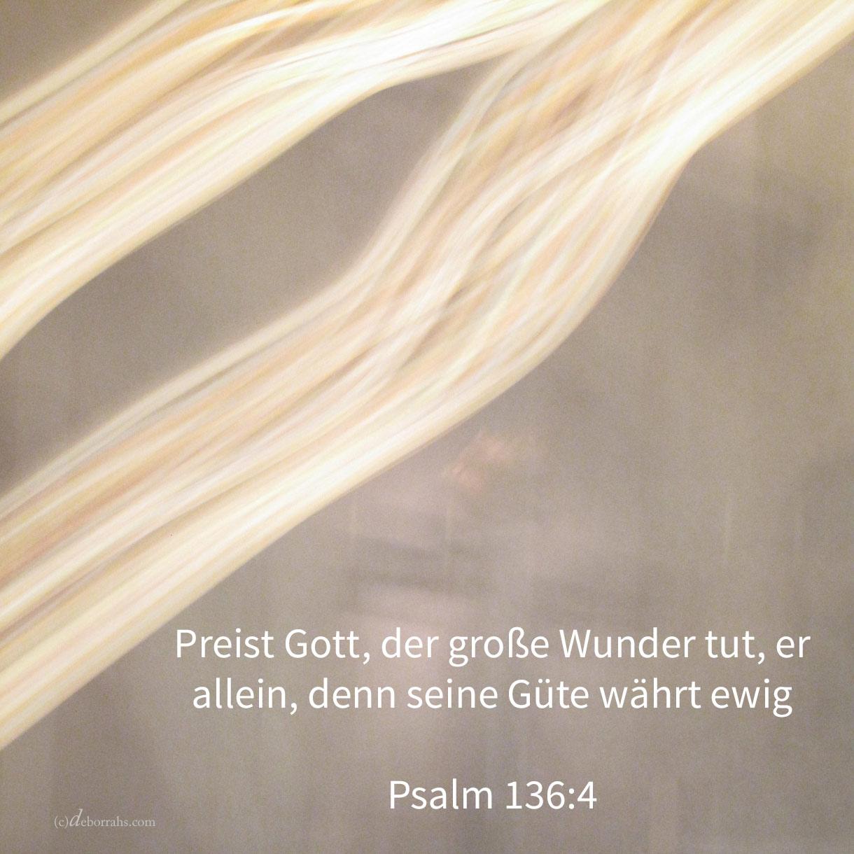 Preist Gott, der große Wunder tut, er allein, denn seine Güte währt ewiglich ( Ps 136,4 )